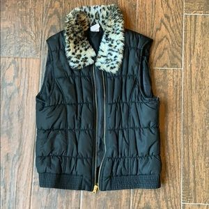 CIRCO Girls Leopard Fur Collar Puffer Vest